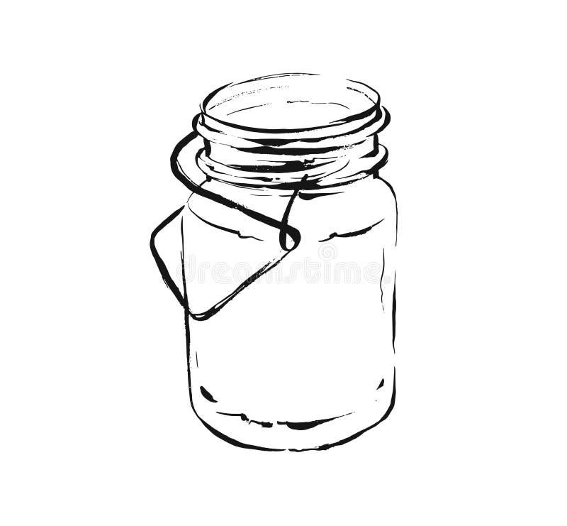 Конспекта вектора руки иллюстрация эскиза чернил вычерченного художественная варя тропического напитка встряхивания коктейля лимо бесплатная иллюстрация