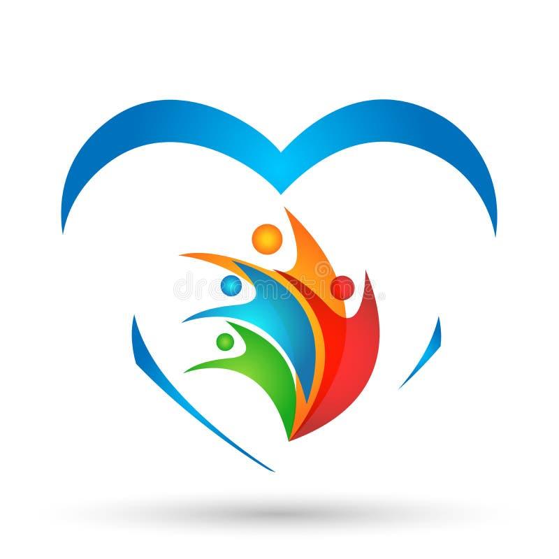Конспекта сердца красочные людей соединения любов здоровья иллюстрации вектора концепции значка логотипа работы команды совместно бесплатная иллюстрация