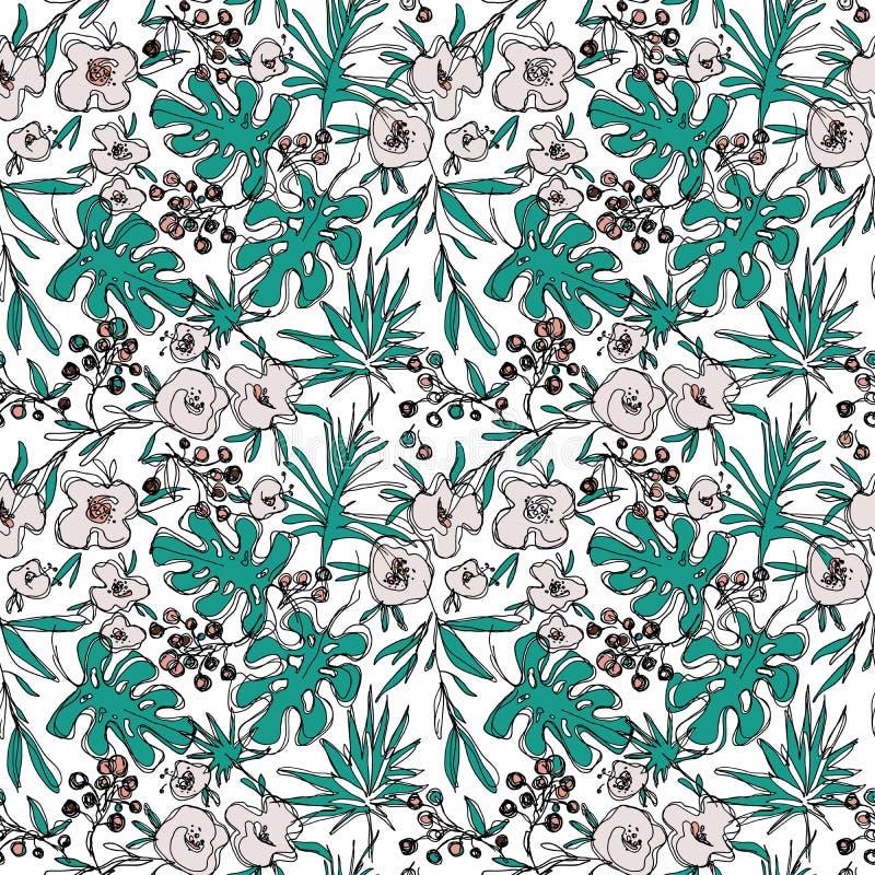Конспектирует картину цветков джунглей безшовную нарисованная вручную ботаническая иллюстрация иллюстрация вектора