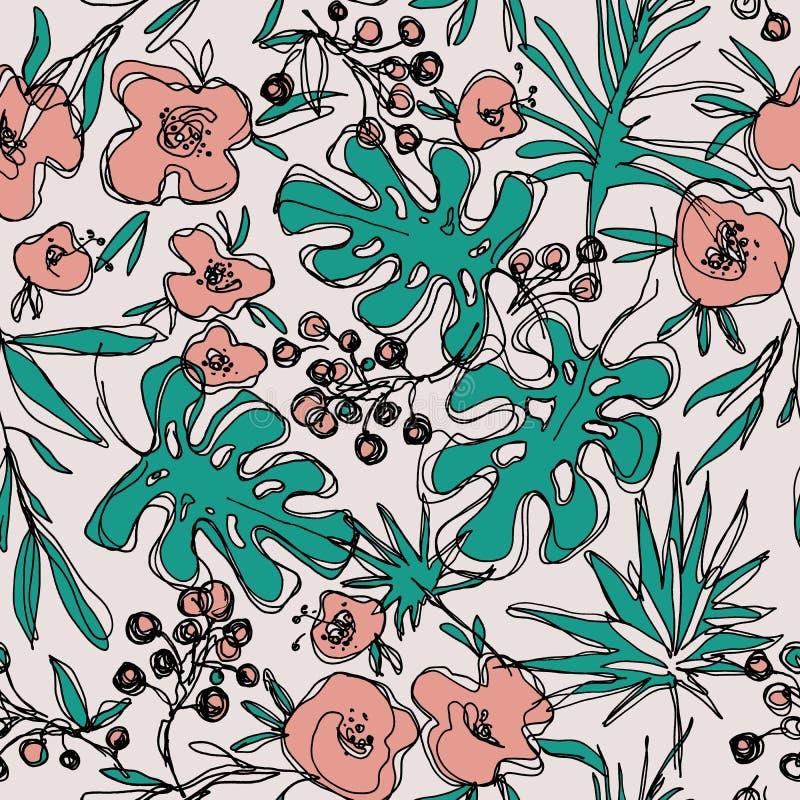 Конспектирует картину цветков джунглей безшовную нарисованная вручную ботаническая иллюстрация бесплатная иллюстрация