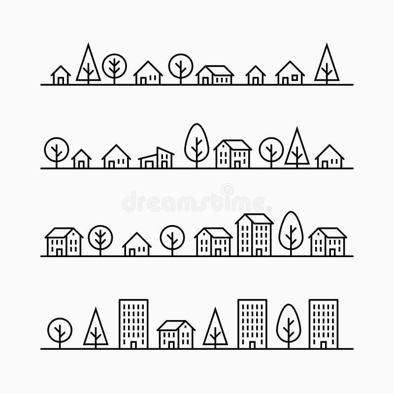 Конспектируйте здания и деревья в линии, 4 различных стиля бесплатная иллюстрация