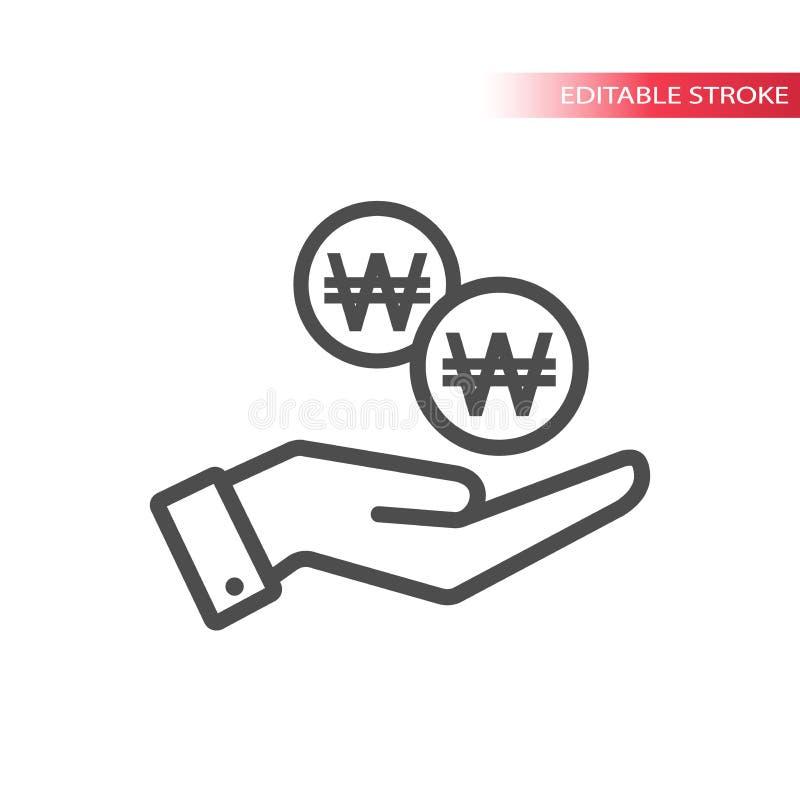 Конспектируйте плоский значок выигранных монеток падая в руку Рука и монетки падая сеть Корейская выигранная монетка и ладонь иллюстрация вектора