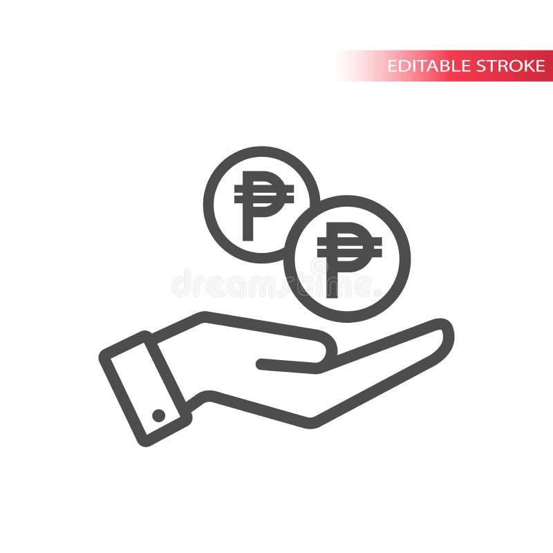 Конспектируйте плоский значок монеток песо падая в руку Рука и монетки падая сеть Монетка песо и ладонь иллюстрация вектора