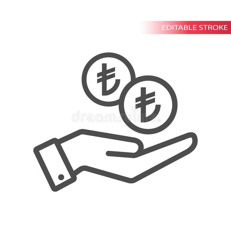 Конспектируйте плоский значок монеток турецкой лиры падая в руку Pictograph сети руки и монеток Турецкие лиры монетки и ладонь бесплатная иллюстрация