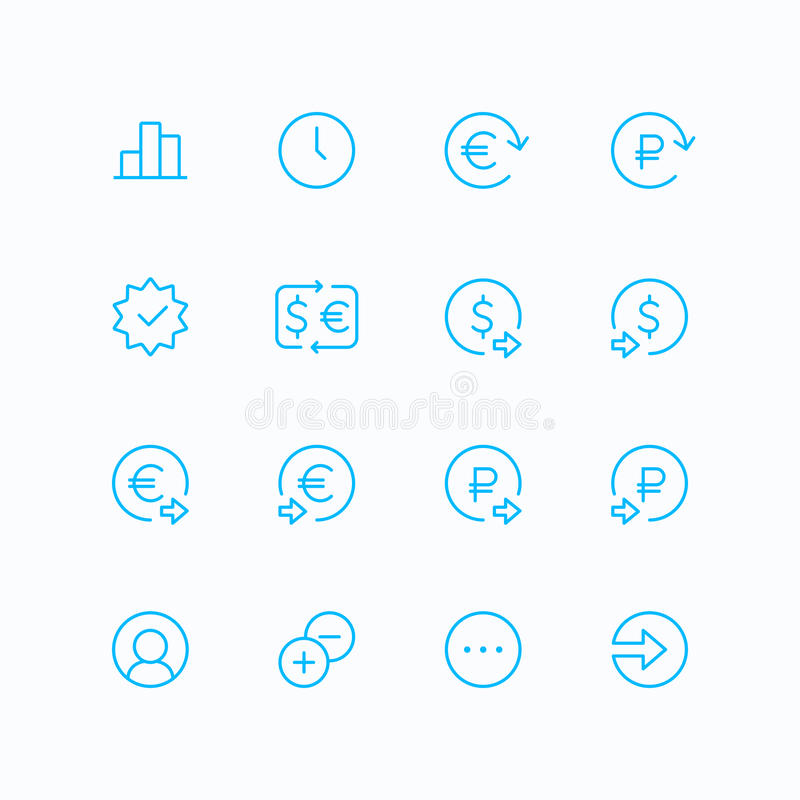 Конспектируйте ecommerce & профинансируйте значки вектора для сети и черни иллюстрация вектора