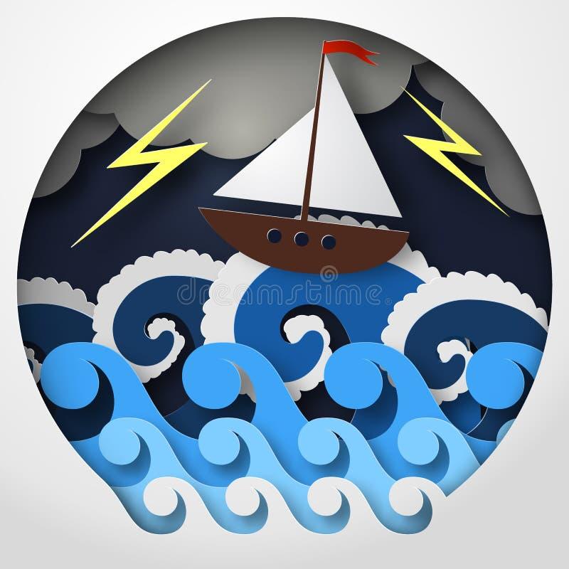 Конспект бумаги корабля против моря и thunderbolt в шторме, искусства концепции, иллюстрации вектора иллюстрация вектора