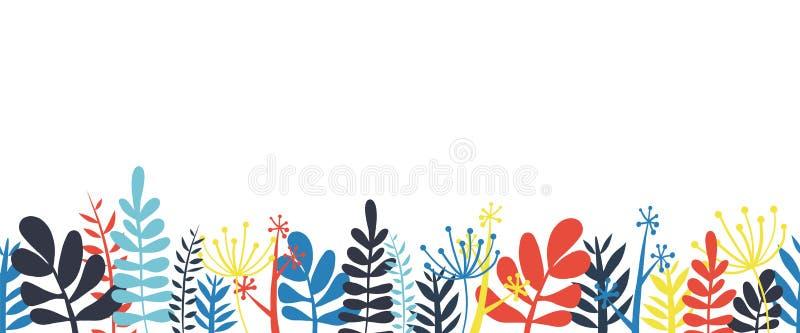 Конспект выходит дну рамки границы горизонтальная безшовная иллюстрация вектора Абстрактные цветки, листья и стержни иллюстрация штока