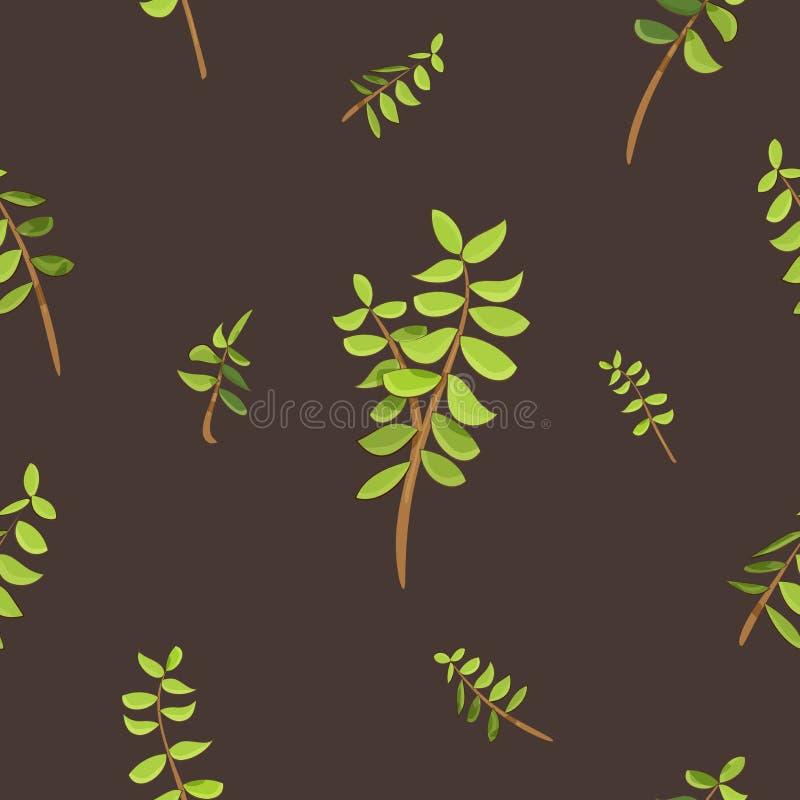 Конспект выходит с картиной орнаментов ветвей дерева безшовной с предпосылкой цвета коричневого цвета кофе иллюстрация штока