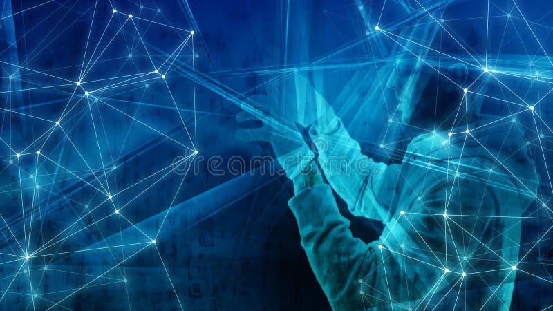 Конспект данным по бинарных кодовых номеров абстракции космоса кибер цифровой большой, цифровое преобразование иллюстрация вектора