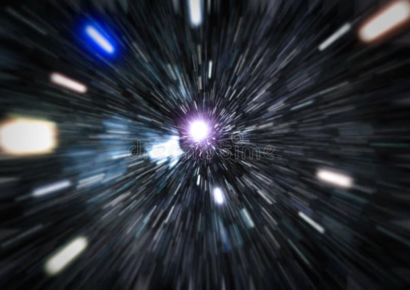 Конспект искривления или hyperspace движения в следе голубой звезды стоковое изображение rf