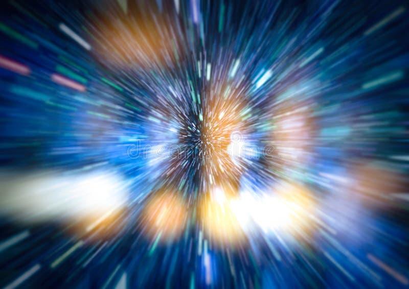Конспект искривления или hyperspace движения в следе голубой звезды стоковое изображение