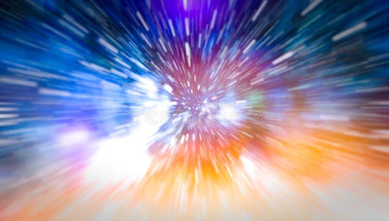 Конспект искривления или hyperspace движения в следе голубой звезды стоковое фото