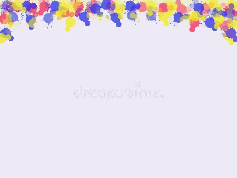 Конспект капельки чернил красочной на чертеже белой бумаги иллюстрация вектора