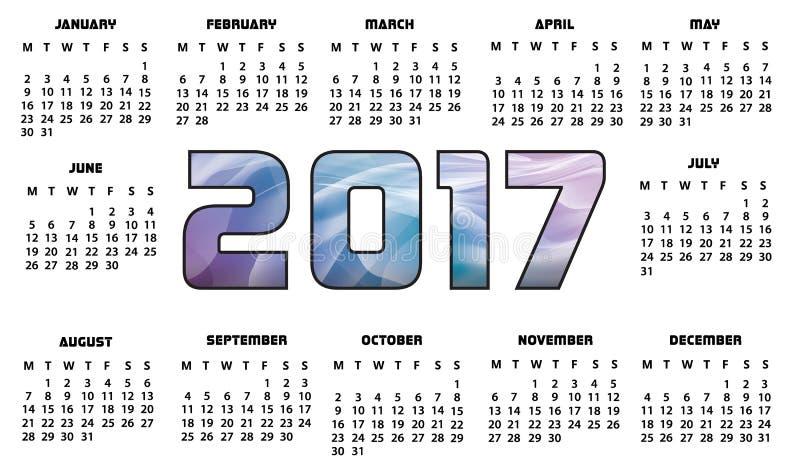 Конспект календаря 2017 футуристический бесплатная иллюстрация