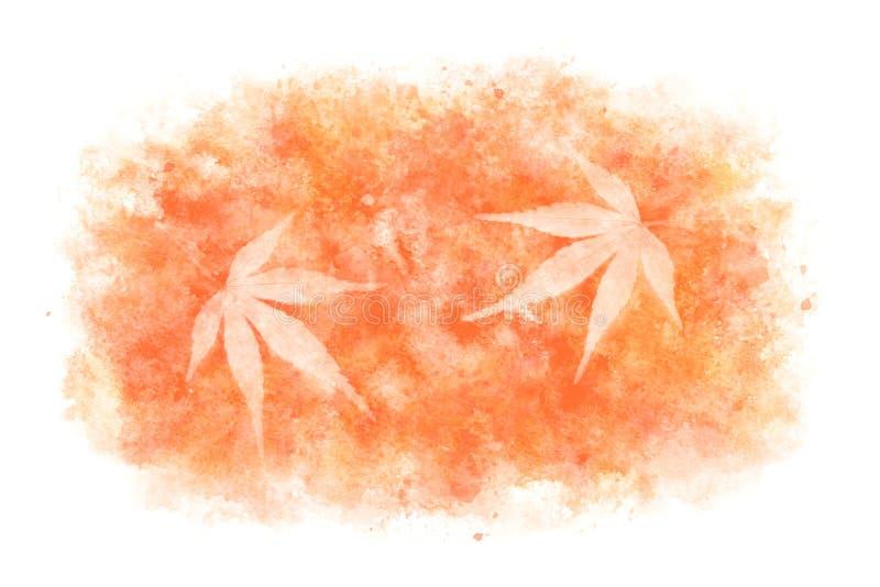 Конспект кленового листа японской осени красный на естественной предпосылке краски акварели, иллюстрации вектора иллюстрация вектора