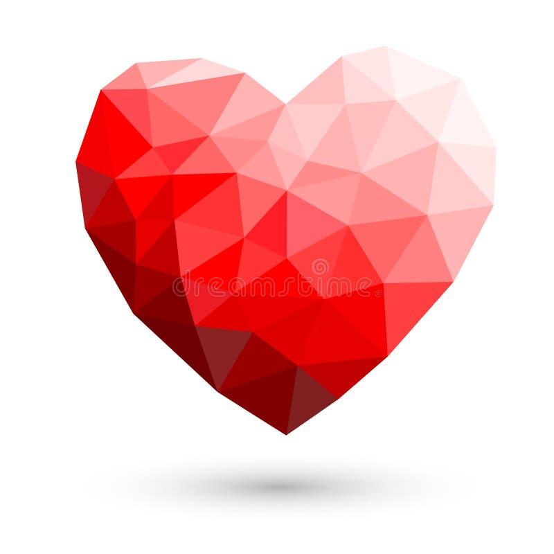 Конспект красного сердца полигональный на белых предпосылках Vector illustr иллюстрация вектора