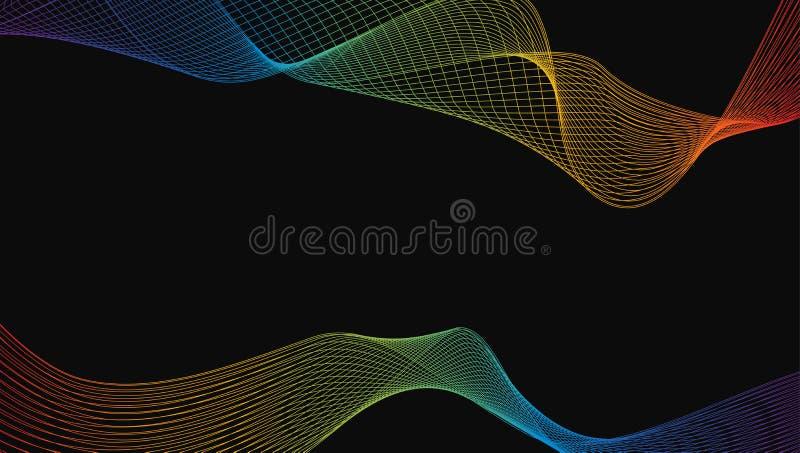 Конспект линии элемента волны сияющей радуги роскошной дизайна искусства иллюстрация штока