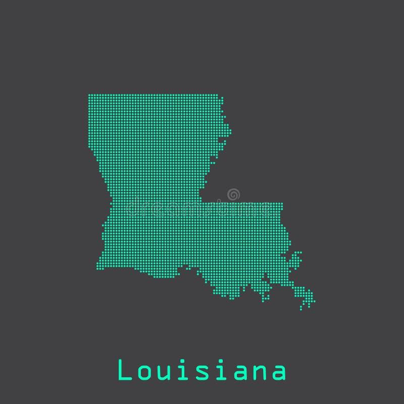 Конспект Луизианы ставит точки карта положения Поставленный точки стиль иллюстрация штока