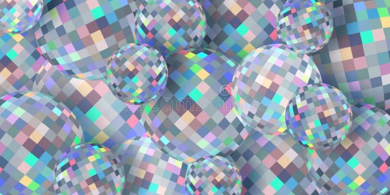 Конспект предпосылки сфер 3d Diamind Shimmer текстура мозаики яркости иллюстрация штока