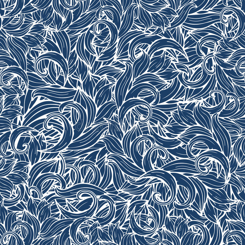 Конспект развевает безшовная картина, предпосылка вектора Стилизованный орнамент морской воды, свирли сини и картины Чертеж руки  бесплатная иллюстрация