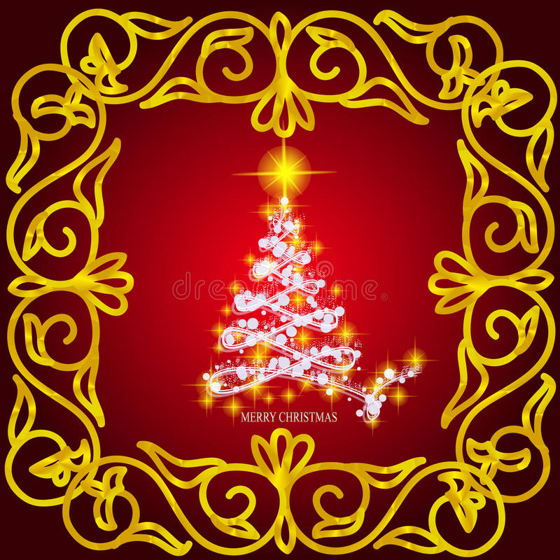 Download Конспект развевает предпосылка с рождественской елкой Иллюстрация в цветах золота, красных и белых Иллюстрация штока - иллюстрации насчитывающей влияние, творческо: 81800453