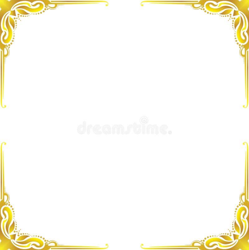 Конспект рамки золота флористический иллюстрация вектора