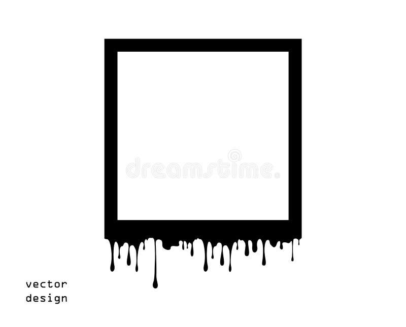 Конспект рамки плавит, таяние Вязкостные подачи краски или шоколада вниз Силуэт, капание Элемент вектора изолирован на свете иллюстрация вектора