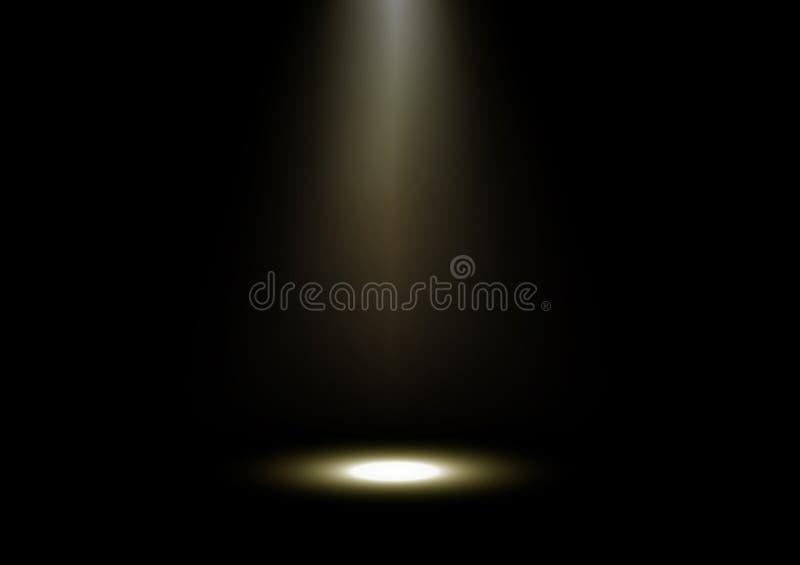 Конспект, световые лучи золота с этапом пола на черной иллюстрации вектора предпосылки иллюстрация штока