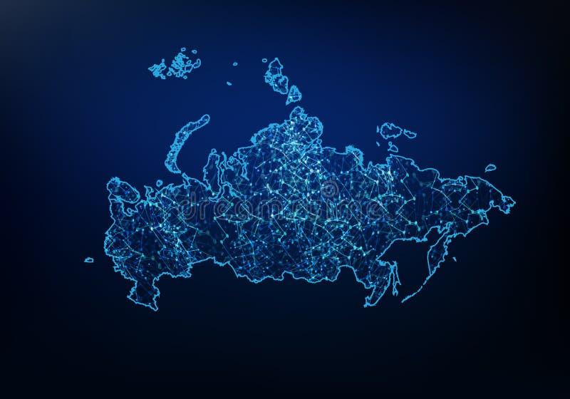 Конспект сети карты России, интернета и глобальной концепции соединения, линии сети сетки рамки 3D провода полигональной, сферы д иллюстрация вектора