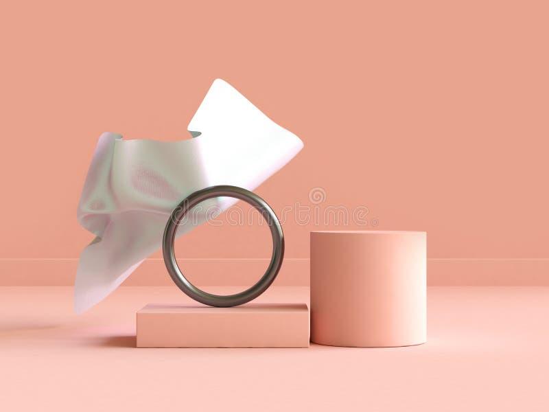 конспект сцены сливк-апельсина белой ткани перевода 3d плавая геометрический иллюстрация штока