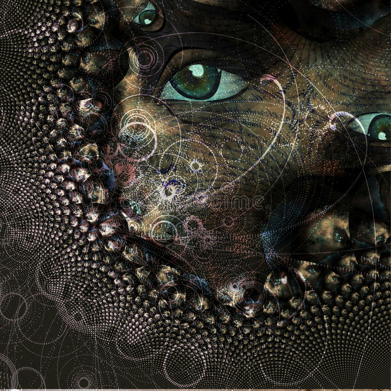 Конспект с глазом и частицами иллюстрация вектора