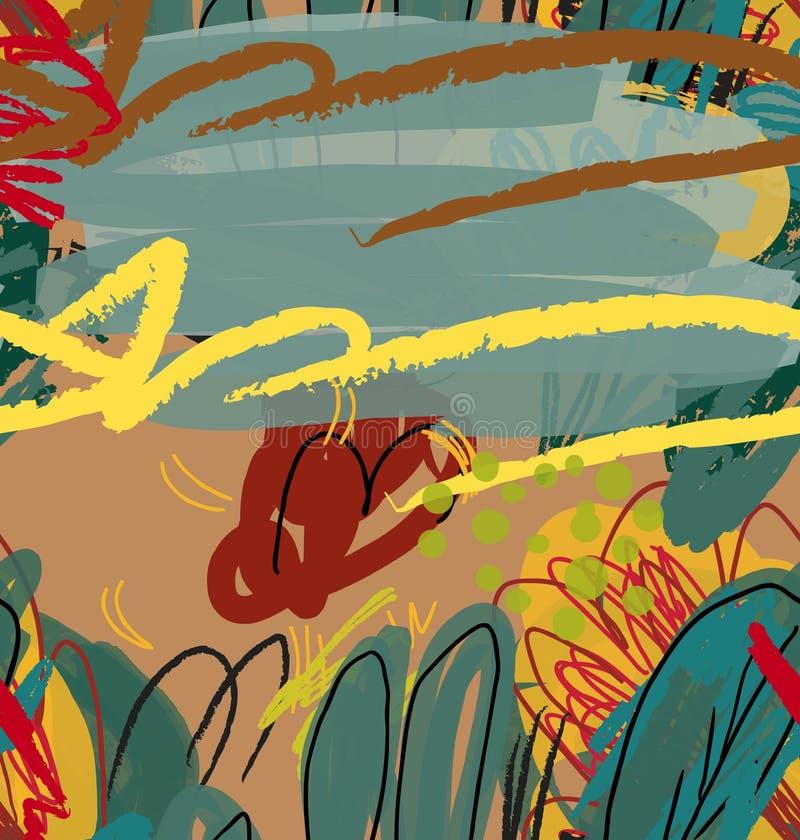 Конспект сделал эскиз к деревьям зеленому цвету и коричневому цвету сада иллюстрация штока