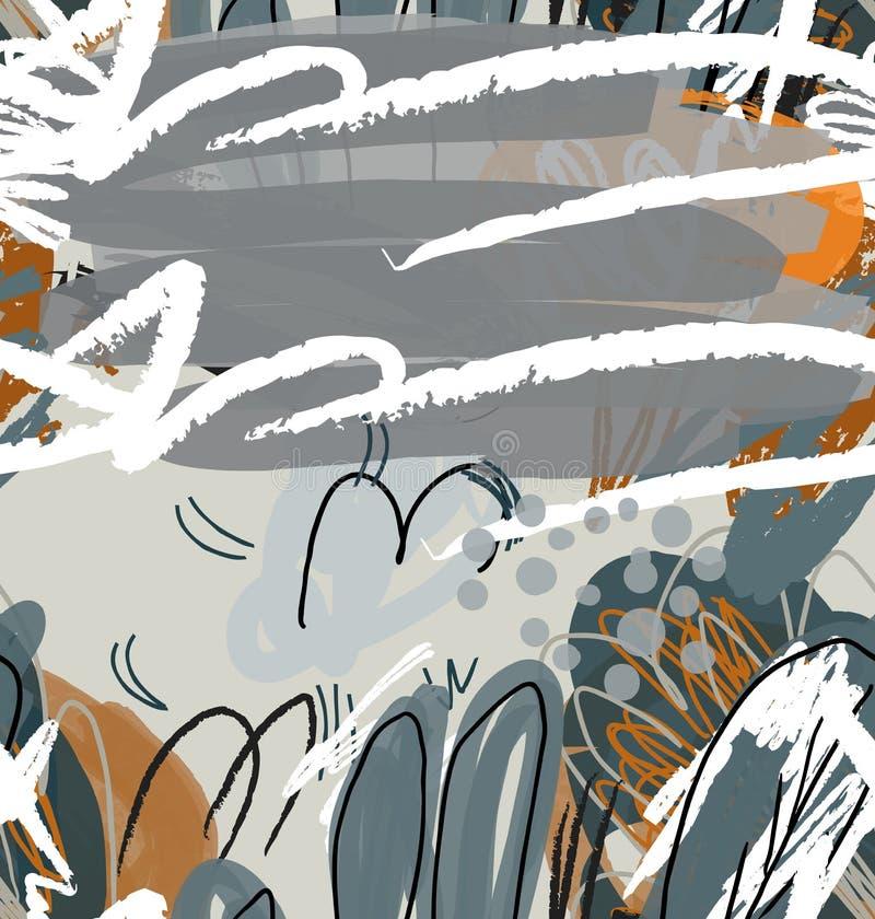 Конспект сделал эскиз к деревьям сада серым и оранжевым иллюстрация вектора