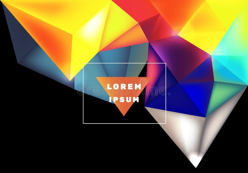 Конспект треугольника полигона красочной радуги низкий стоковое изображение