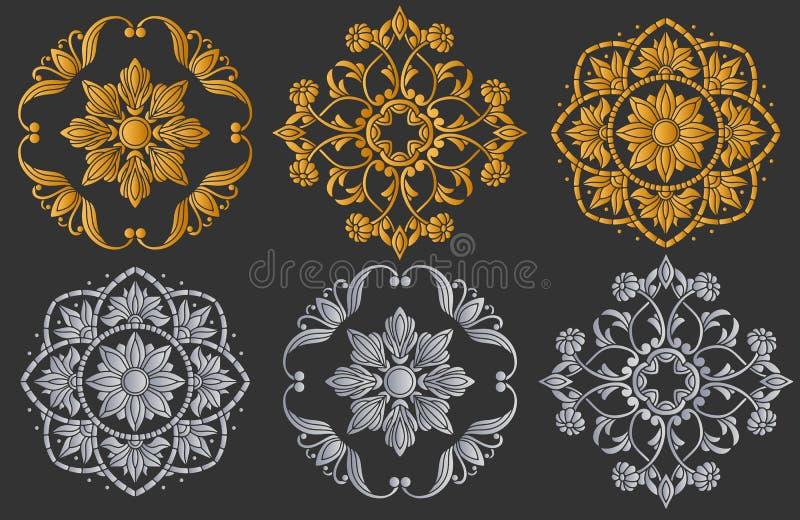 Конспект установил с декоративными элементами, круглыми флористическими симметричными вариантами состава, золота и серебра иллюстрация вектора