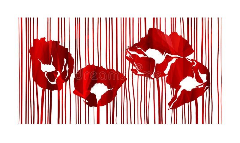 Конспект цветков маков иллюстрация штока