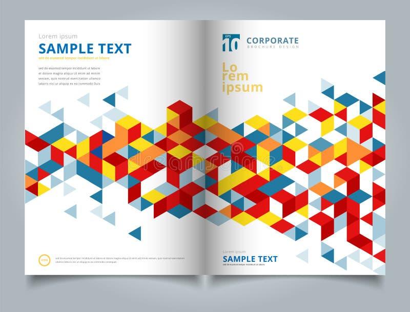 Конспект шаблона брошюры геометрический с полигональными треугольниками co иллюстрация вектора