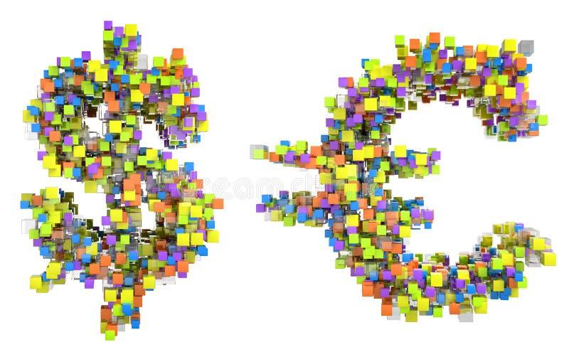 конспект cubes символы евро доллара мы иллюстрация вектора