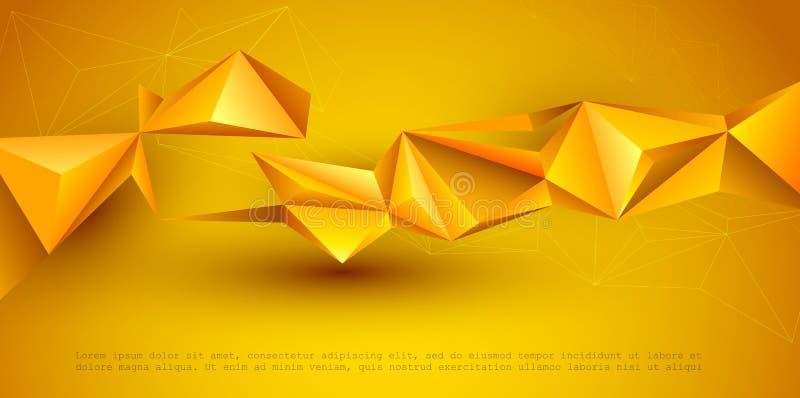Конспект 3D геометрический, полигон, форма картины треугольника Желтая, оранжевая предпосылка цвета градиента Иллюстрация вектора бесплатная иллюстрация