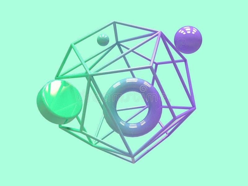 Конспект 3d левитации формы градиента пурпурный зеленый геометрический представляет иллюстрация штока