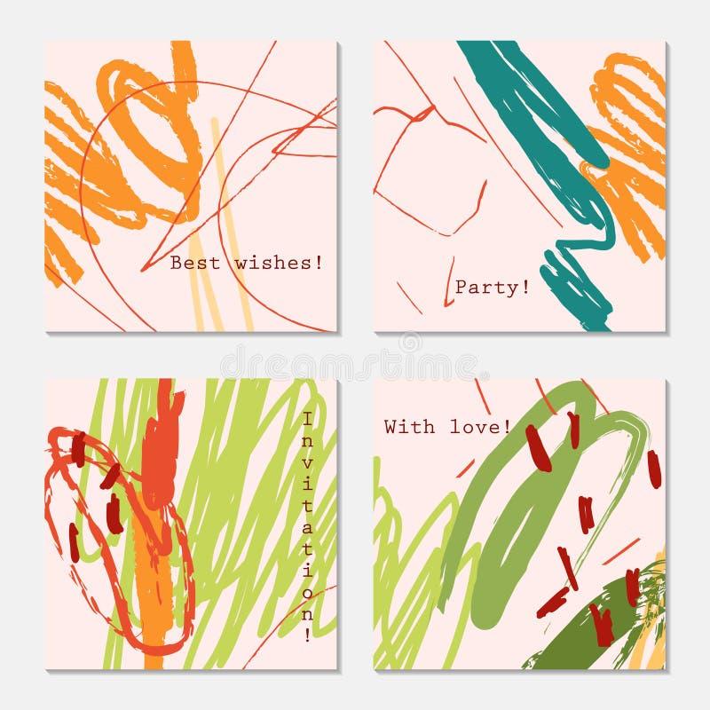 Конспект doodles красный цвет желтого цвета меток scribbles на свете - пинке бесплатная иллюстрация