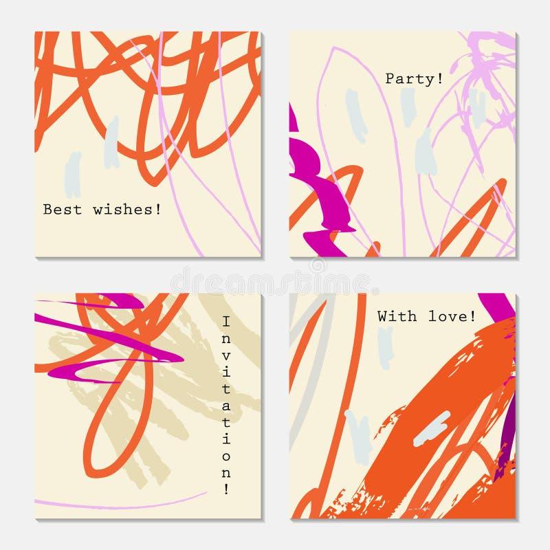Конспект doodles пурпур меток scribbles оранжевый на свете - желтом цвете иллюстрация штока