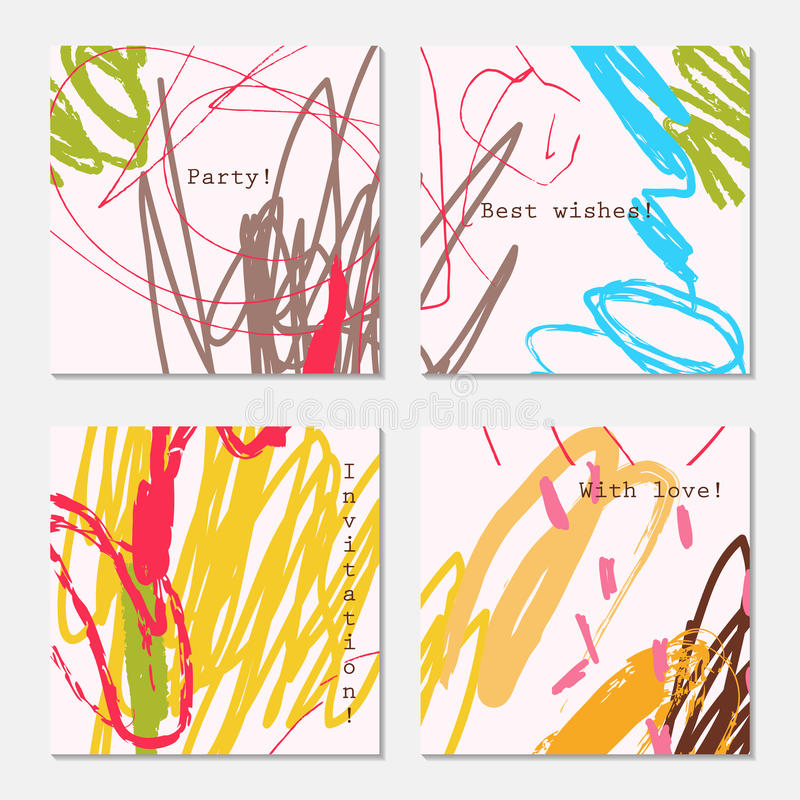 Конспект doodles синь желтого цвета коричневого цвета меток scribbles на сливк бесплатная иллюстрация