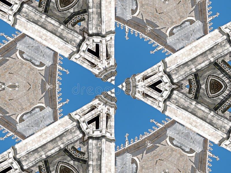 Конспект dos Jeronimos Mosteiro, монастыря в Belem в Лиссабоне иллюстрация штока