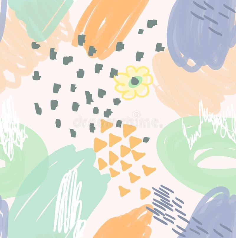 Конспект scribbles апельсин с цветком и треугольниками иллюстрация вектора