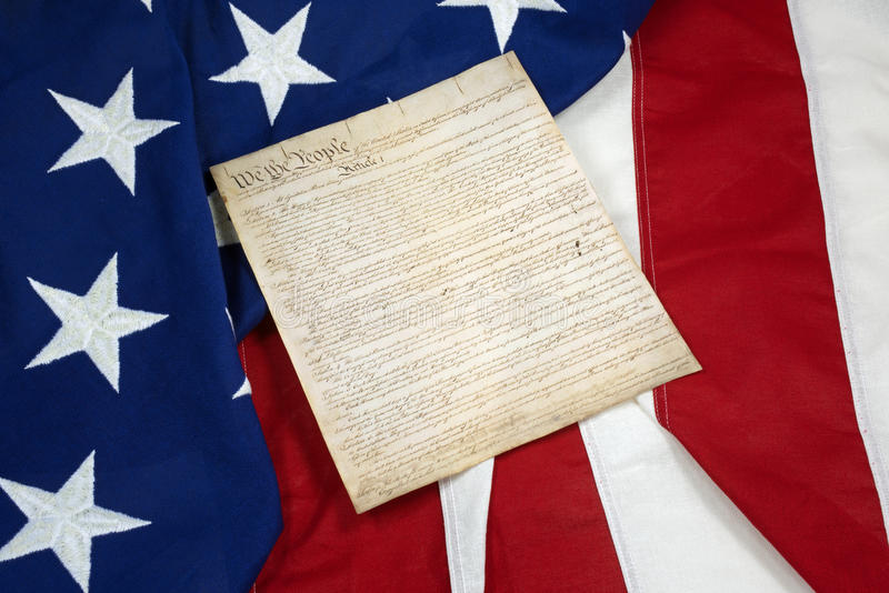 Конституция на американском флаге, горизонтальном стоковое изображение