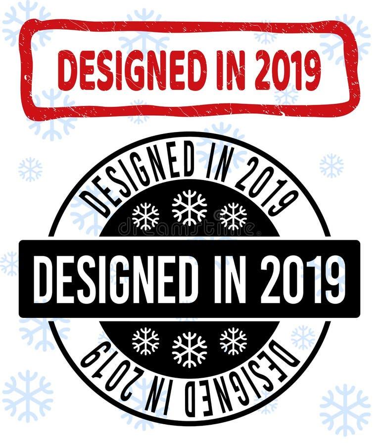 Конструированный в Grunge 2019 и чистых уплотнениях печати на Новый Год бесплатная иллюстрация