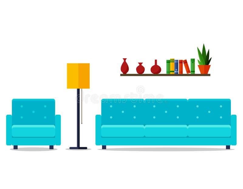 конструированный тип комнаты домашнего интерьера живя ретро Для вебсайта, печать, плакат, представление, infographic Плоская иллю иллюстрация штока