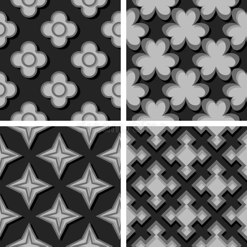 конструирует картин иллюстрации элементов вектор комплекта геометрических шестиугольных безшовный Комплект черных и серых предпос бесплатная иллюстрация
