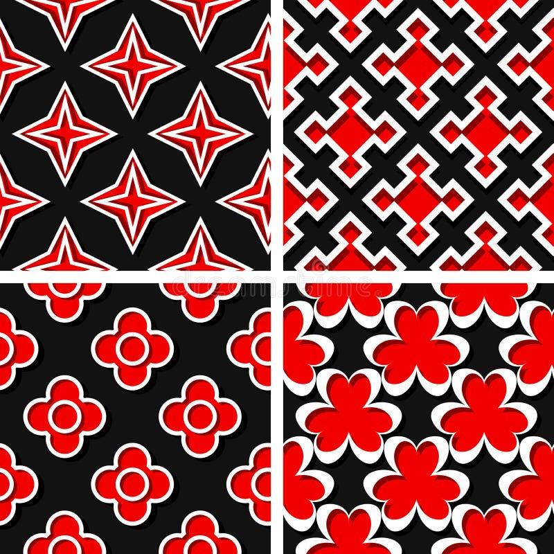 конструирует картин иллюстрации элементов вектор комплекта геометрических шестиугольных безшовный Комплект черных предпосылок 3d  бесплатная иллюстрация